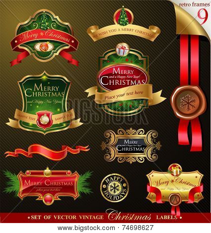 Christmas vector frames and ornamental labels set. For banners, backgrounds, presentations, decorations.  All pieces are separated