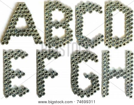 Letters made of bolts isolated on white with shadow