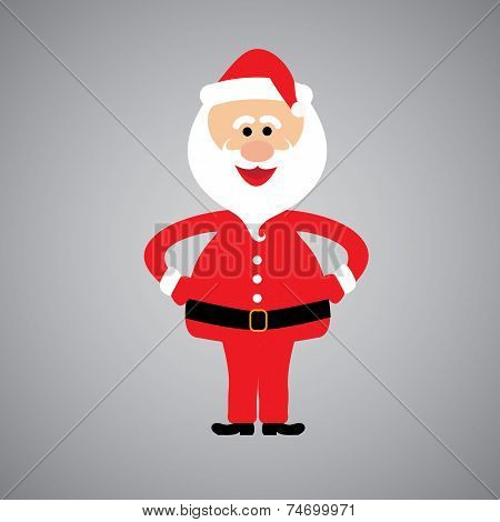 Happy And Funny Santa Claus Standing With Hands On Hips - Vector Graphic Design