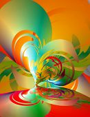 Abstract 3-d illustration. Bright Curves. Digital illustration. poster