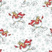 Seamless pattern.Cute cartoon sheep with  snowflakes figure skating.Winter sport.Symbol 2015 year sheep.Vector poster
