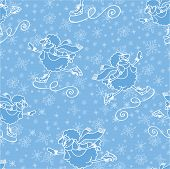 Seamless pattern.Cute cartoon outline sheep with  snowflakes figure skating.Winter sport.Vector poster