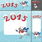 2015 Year of Sheep. Vector Cartoon sheep skates.Winter landscape with room for text.Horizontal,vertical,square format. poster