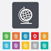 Globe sign icon. Geography symbol. Globe on stand for studying. Rounded squares 11 buttons. Vector poster