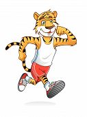 tiger is running like athletes runners happily poster