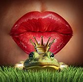 Love Match and finding prince charming or mr right concept as red female lips getting ready to kiss a frog prince wearing a crown as a metaphor for finding romance and relationship online dating symbol. poster