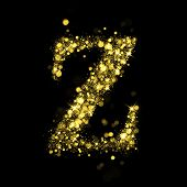 Sparkling Letter Z on black background. Alphabet of golden glittering stars (glittering font concept). Christmas holiday illustration of bokeh shining stars character.. poster