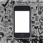 Smart phone on concrete floor with various social icons. Phone concept poster