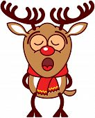 Adorable brown reindeer with big antlers, red nose and wearing a red scarf while standing straight, putting its legs behind its body and singing totally concentrated and inspired poster