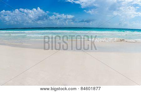 Panorama Of Tulum Beach View, Caribbean Paradise, At Quintana Roo, Mexico.