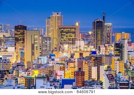 Kobe, Japan cityscape at the downtown Sannomiya District. poster