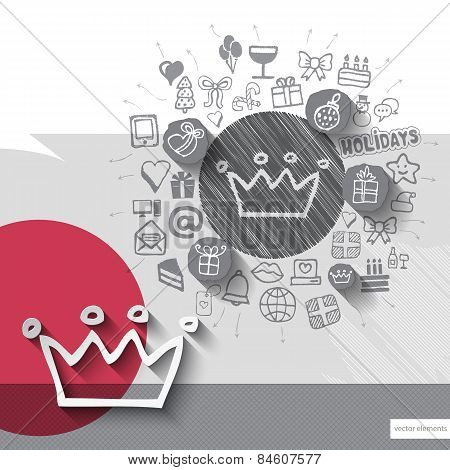 Hand drawn crown icons with icons background