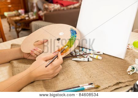 Conceptual Shot Of Drawing Hobby At Home