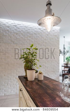 Work surfaces in the kitchen interior