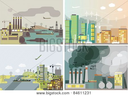 Industrial landscape set.  Plant or factory. Ecology. Pollution. Vector flat illustration