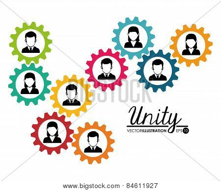 Teamwork design over white background, vector illustration. poster