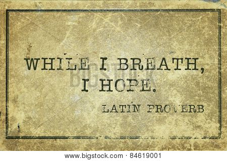 while I breath I hope - ancient Latin proverb printed on grunge vintage cardboard poster