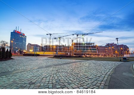 GDANSK, POLAND - FEBRUARY 21, 2015: Building construction of Tryton office building in Gdansk, Poland. Tryton Business House will be modern glass building with 22 000 square meters of office space.