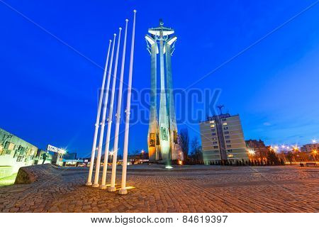 GDANSK, POLAND - FEBRUARY 21, 2015: Three crosses monument at the European Solidarity square in Gdansk, Poland. It's a memorial to the Fallen Shipyard Workers killed in 1970 at  the Lenin Shipyard.