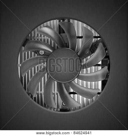 Fan with heatsink close up