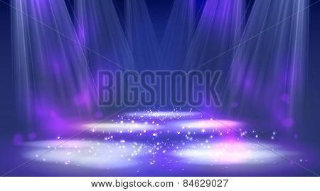 Stage spotlights blue . Vector illustration eps 10 poster
