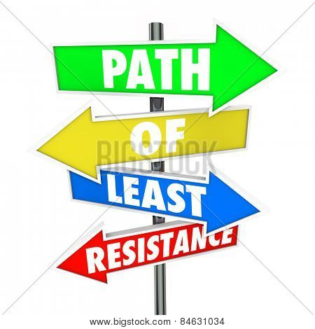 Path of Least Resistance Words on colored arrow signs pointing you to take the easiest route or way forward and avoiding conflict or difficulty poster