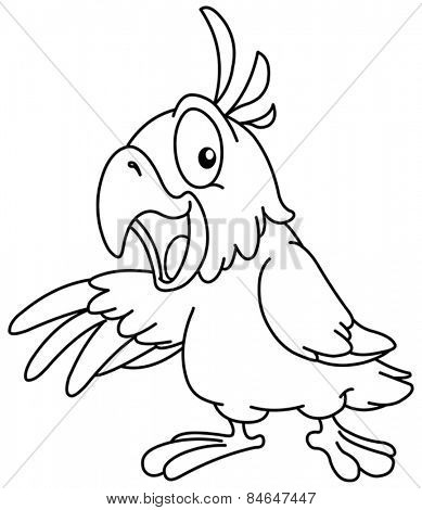 Outlined Cartoon parrot presenting with his wing. Vector illustration coloring page.