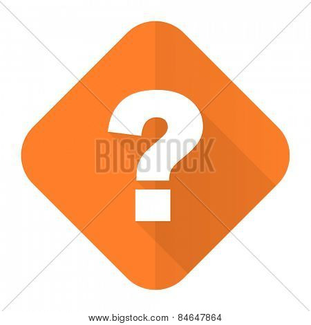 question mark orange flat icon ask sign  poster
