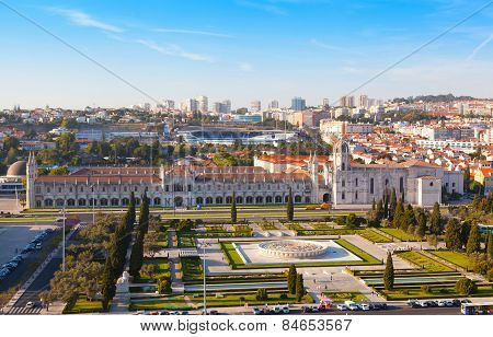 historic monastery Mosteiro dos Jeronimos of Lisbon in Portugal poster