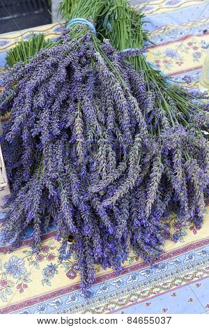 bunch of lavenders, market in Nyons, Rhone-Alpes, France poster