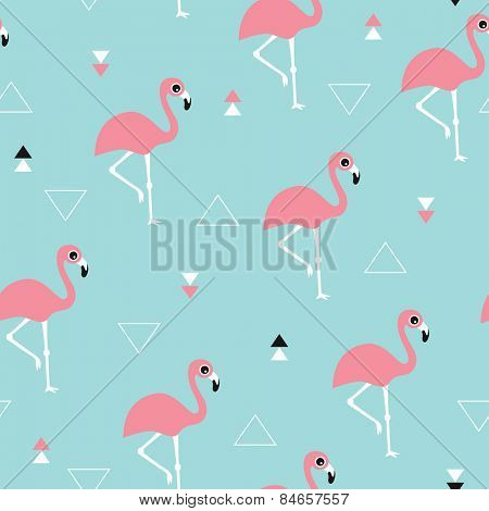 Seamless kids soft pastel blue ocean and pink summer flamingo and geometric details background pattern in vector