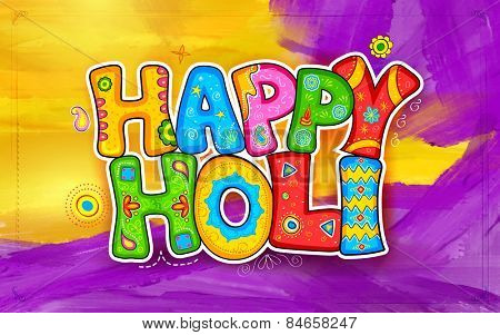 illustration of colorful Holi background in Indian kitsch style