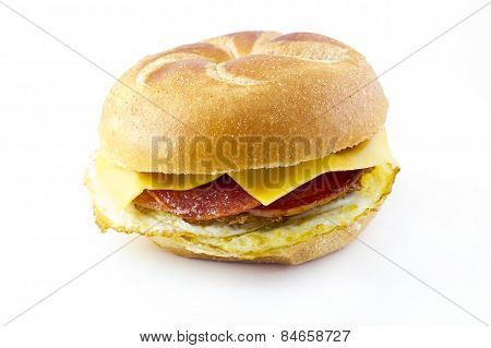 Taylor ham pork roll egg and cheese breakfast sandwich on a kaiser roll from New Jersey poster