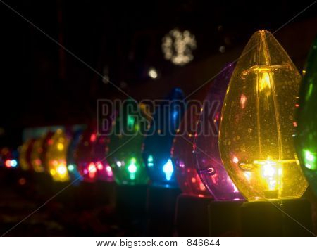 Row of outdoor large Christmas lights