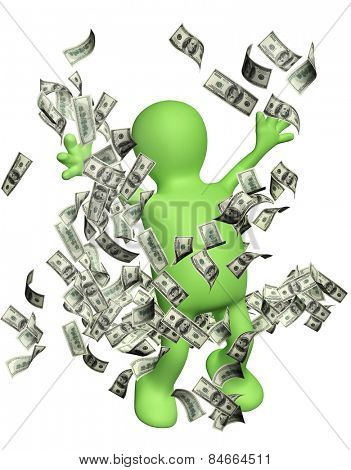 Happy puppet with money. Isolated on white background