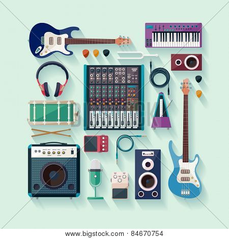 Musical equipment. Flat design.