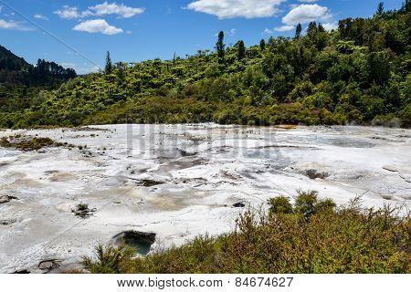 Scenic landscape view of Orakei Korako geothermal park