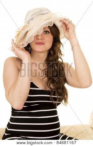 Woman With Long Hair And A Hat One Eye Hidden