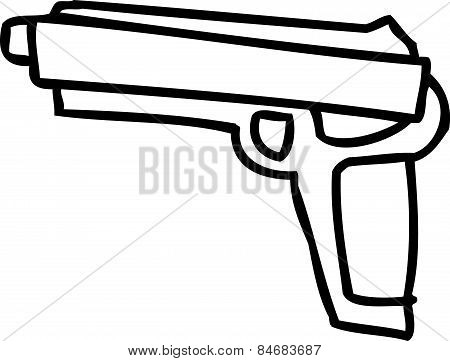 Outlined Isolated Handgun