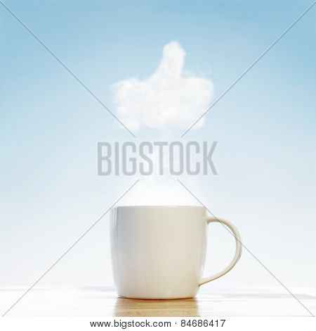 Coffee Cup With Thumb Up Symbol