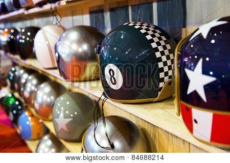 Stylish Helmets On Display