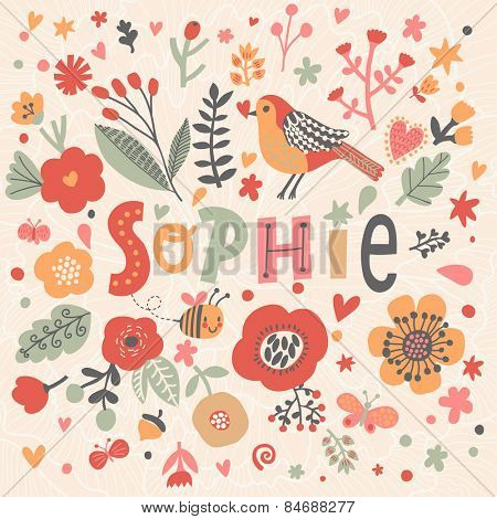 Bright card with beautiful name Sophie in poppy flowers, bees and butterflies. Awesome female name design in bright colors. Tremendous vector background for fabulous designs