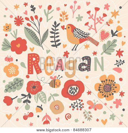 Bright card with beautiful name Reagan in poppy flowers, bees and butterflies. Awesome female name design in bright colors. Tremendous vector background for fabulous designs