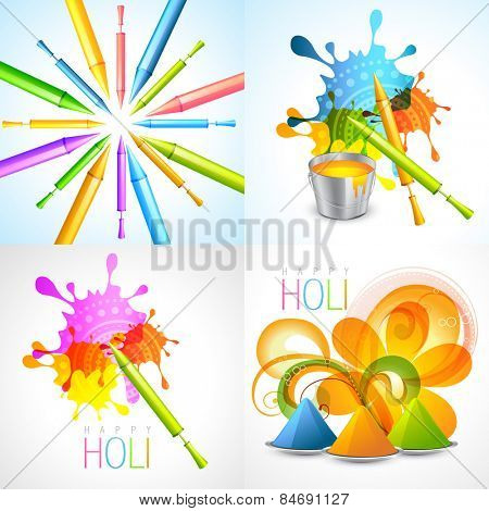 vector set of holi background with pichkari and gulal illustration
