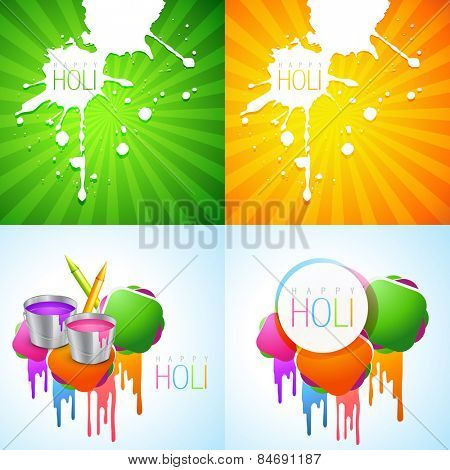 vector collection of colorful holi design with colorful holi splash and pichkari