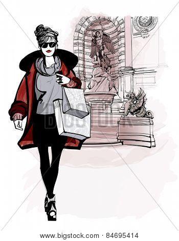 woman near Saint Michel in Paris - vector illustration