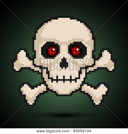 Pixel skull and crossbones. Vector illustration