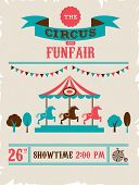 vintage poster with carnival, fun fair, circus vector background and illustration poster