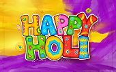 illustration of colorful Holi background in Indian kitsch style poster
