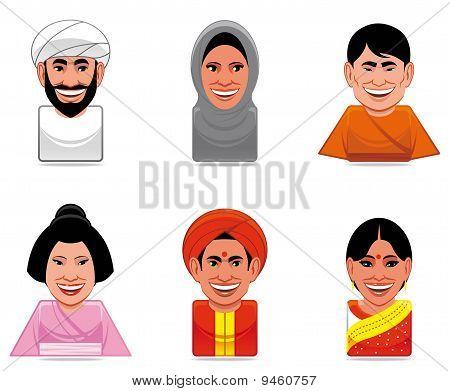 Avatar World People Icons(arabian,japanese,indian)